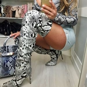 🔥RESTOCK🔥 Faux Leather Snake Thigh High Boots